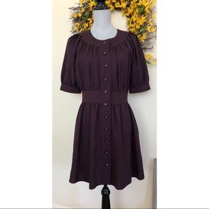 Catherine Malandrino Purple Button Dress Wool